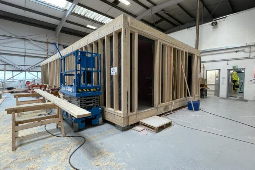 Progress of the pre-fabricated houses in Roedean, Brighton